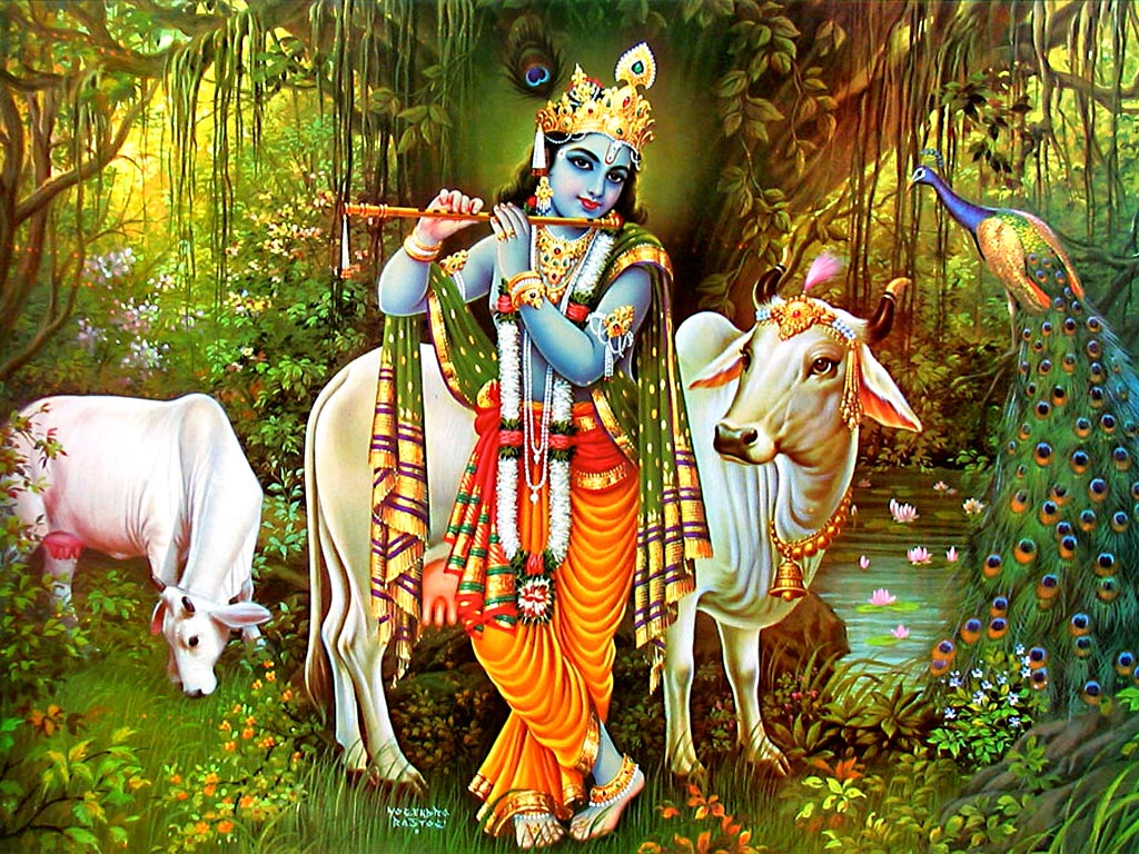 Krishna god with cow
