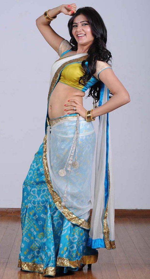 Samantha light blue saree photo