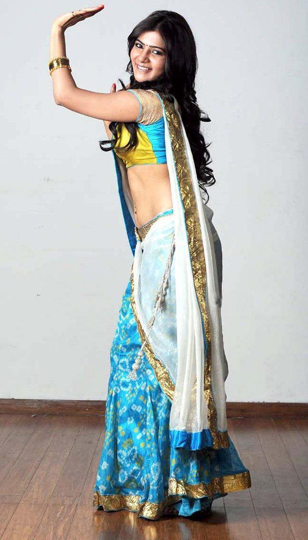 Samantha light blue saree pictures