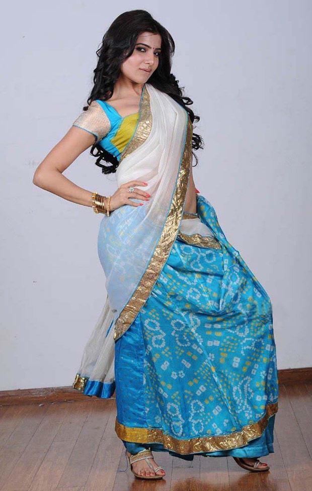 Samantha light blue saree wallpaper
