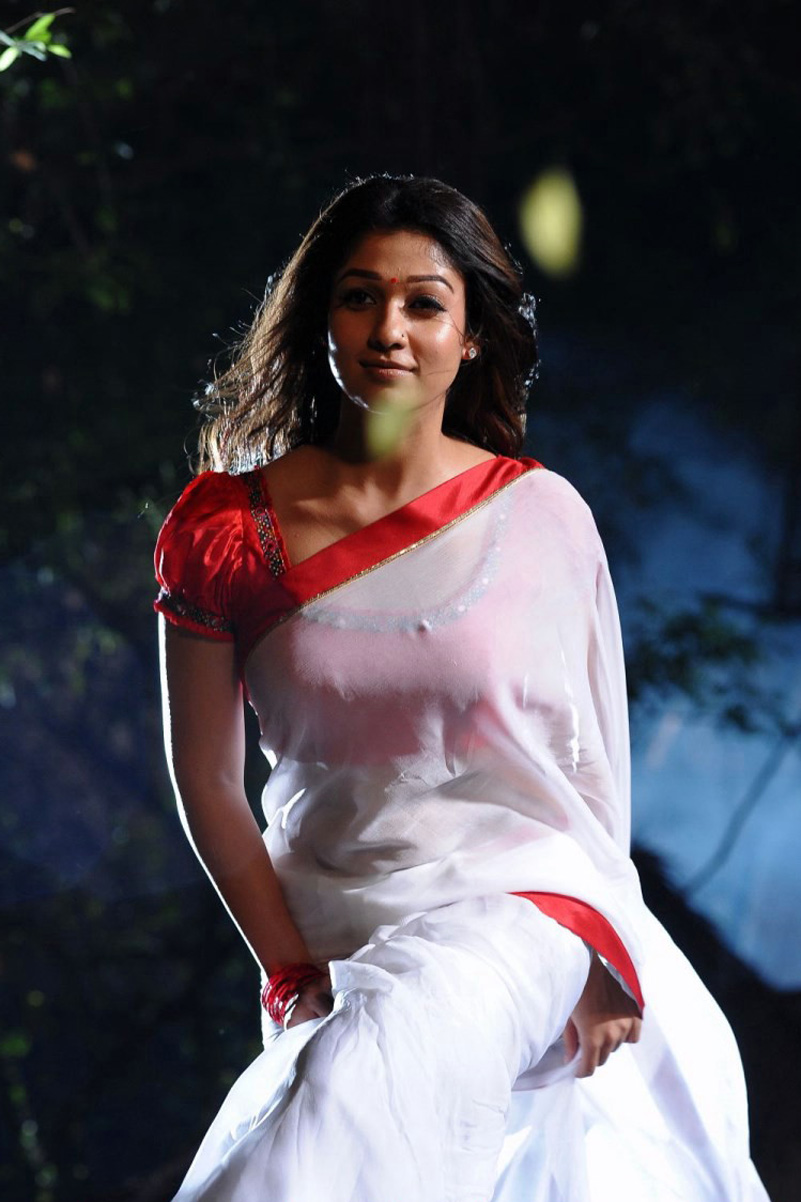 Actress nayantara white saree photos