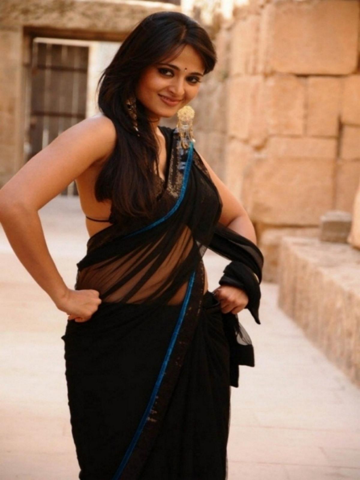 Anushka shetty black saree photos