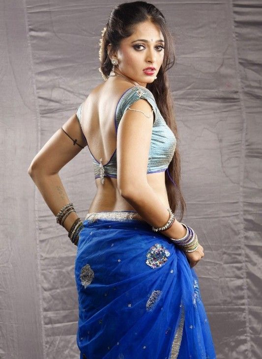 Anushka shetty blue half saree photos
