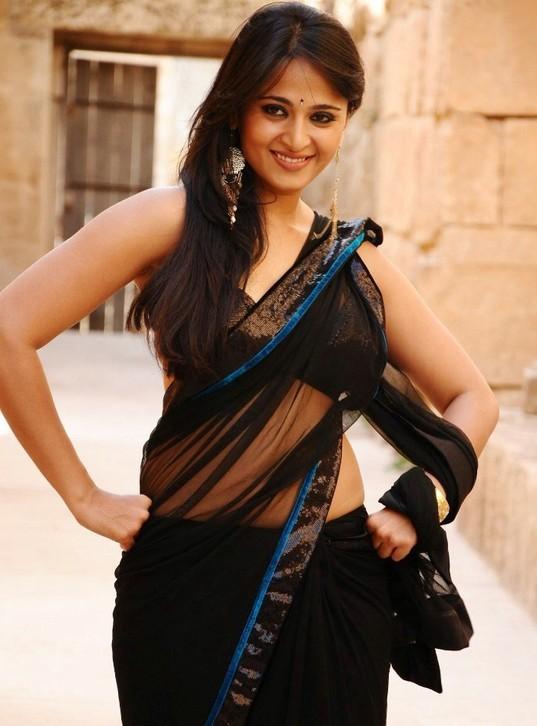 Anushka shetty cute hot black saree stills