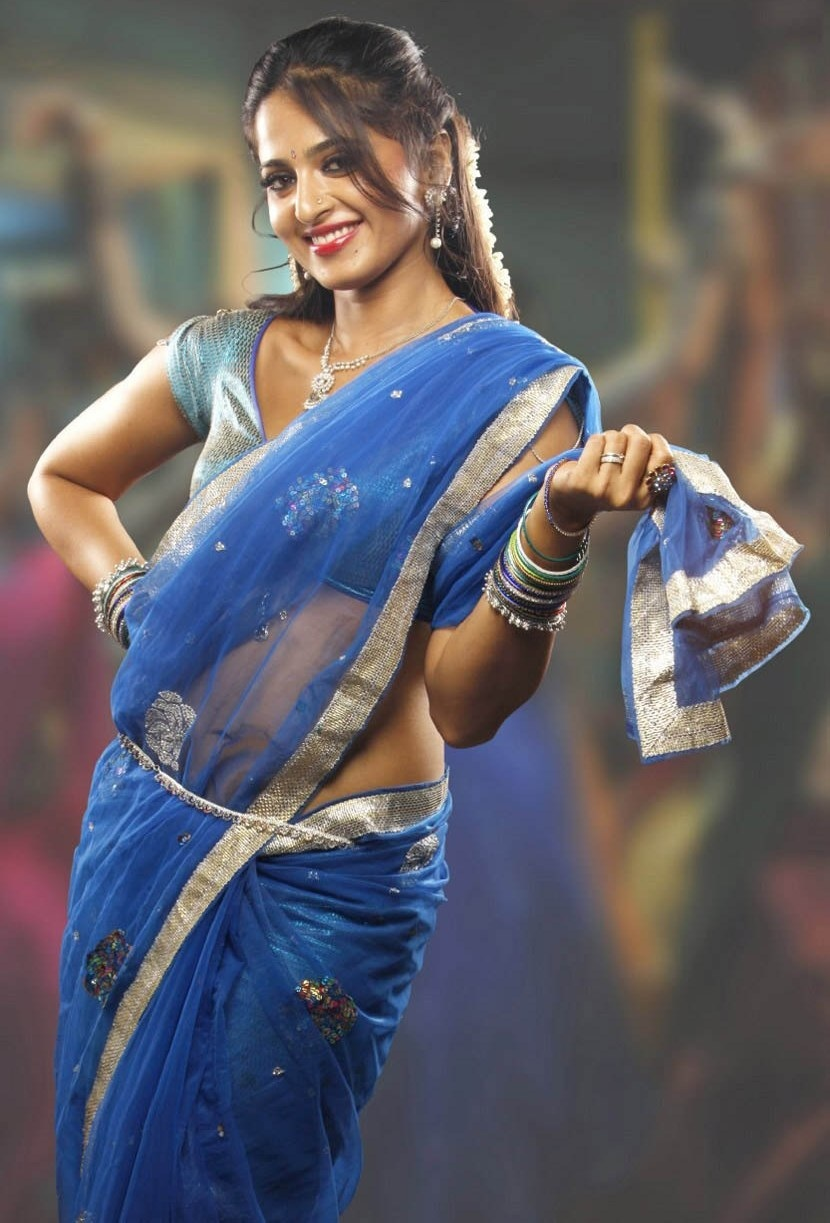 Blue saree anushka shetty hot cute stills