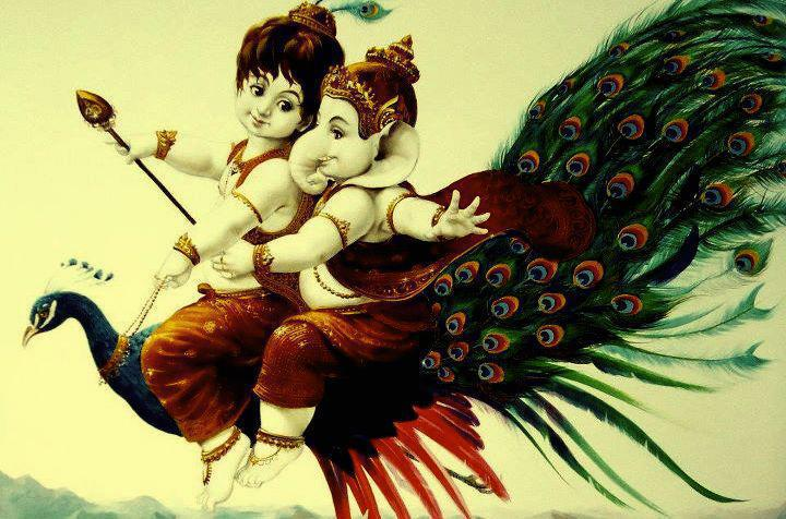 Lord ganesh and murugan with peacock