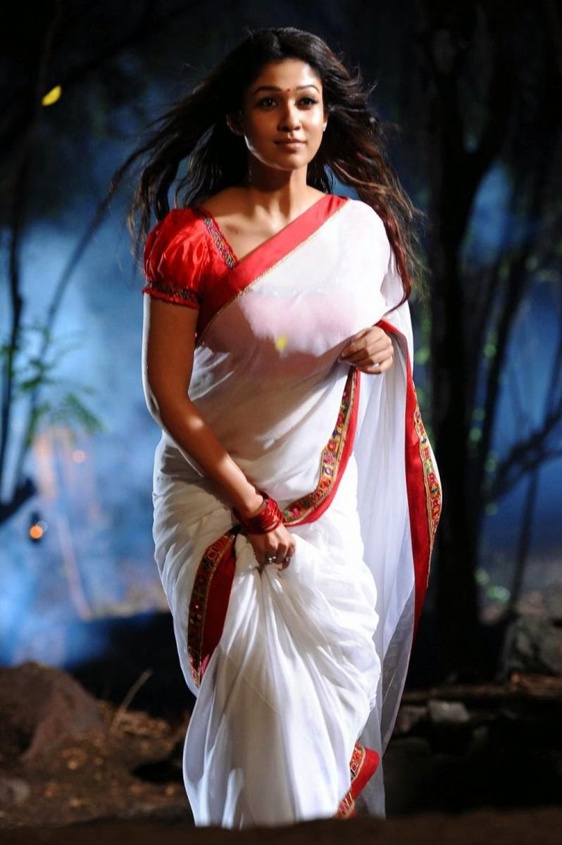 Nayantara with white saree