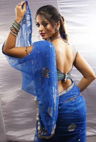 Tamil actress anushka blue saree