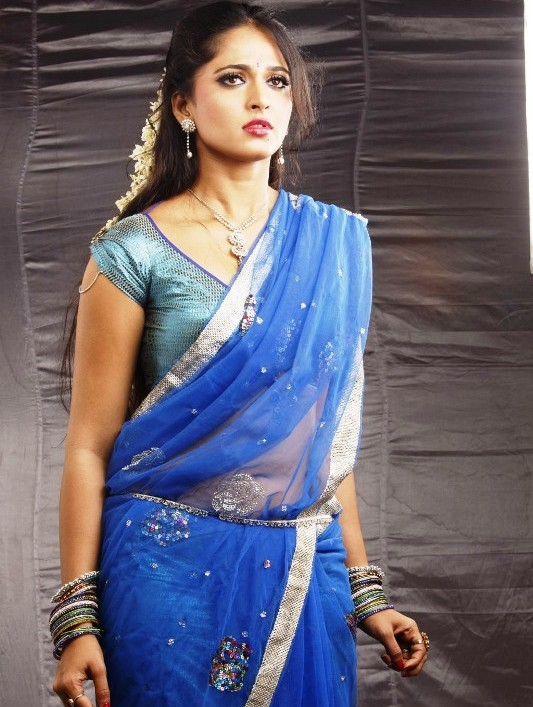 Telugu actress anushka blue half saree wallpaper