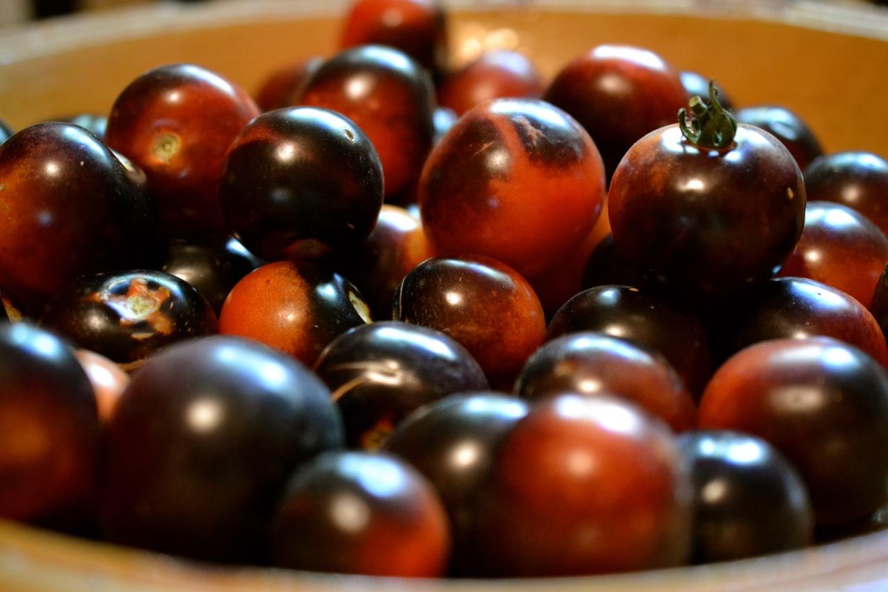 Many black tomatoes image