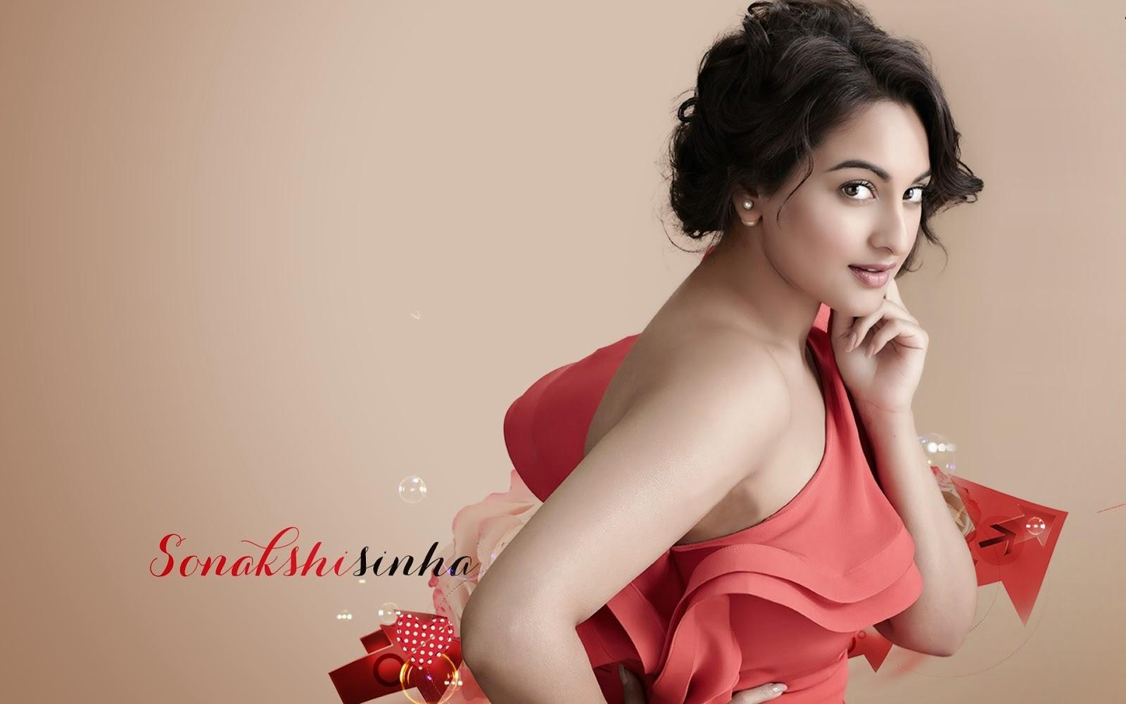Bollywood sonakshi sinha actress red dress photos