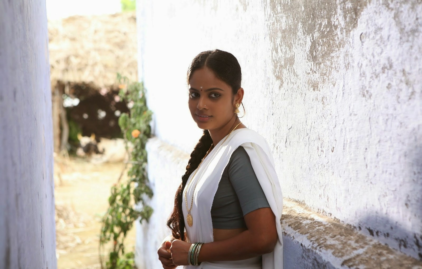 Nandita swetha white color half saree photos