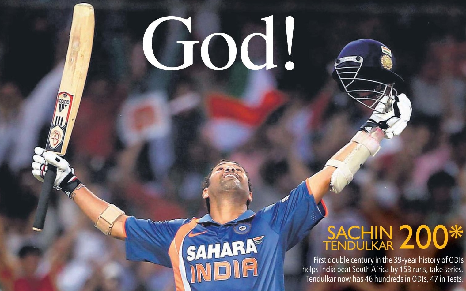 Sachin tendulkar scored 200 against south africa in ODI