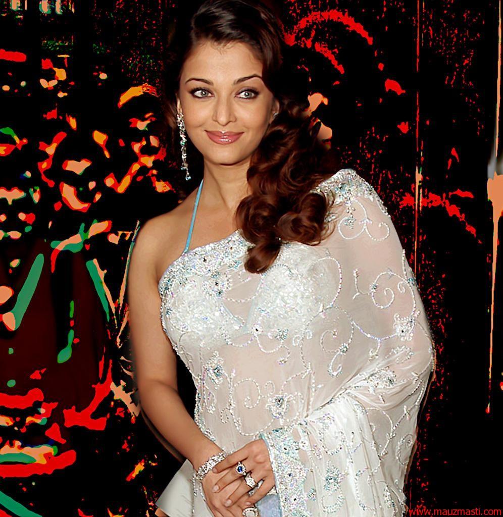 Aishwarya rai hd white saree wallpapers