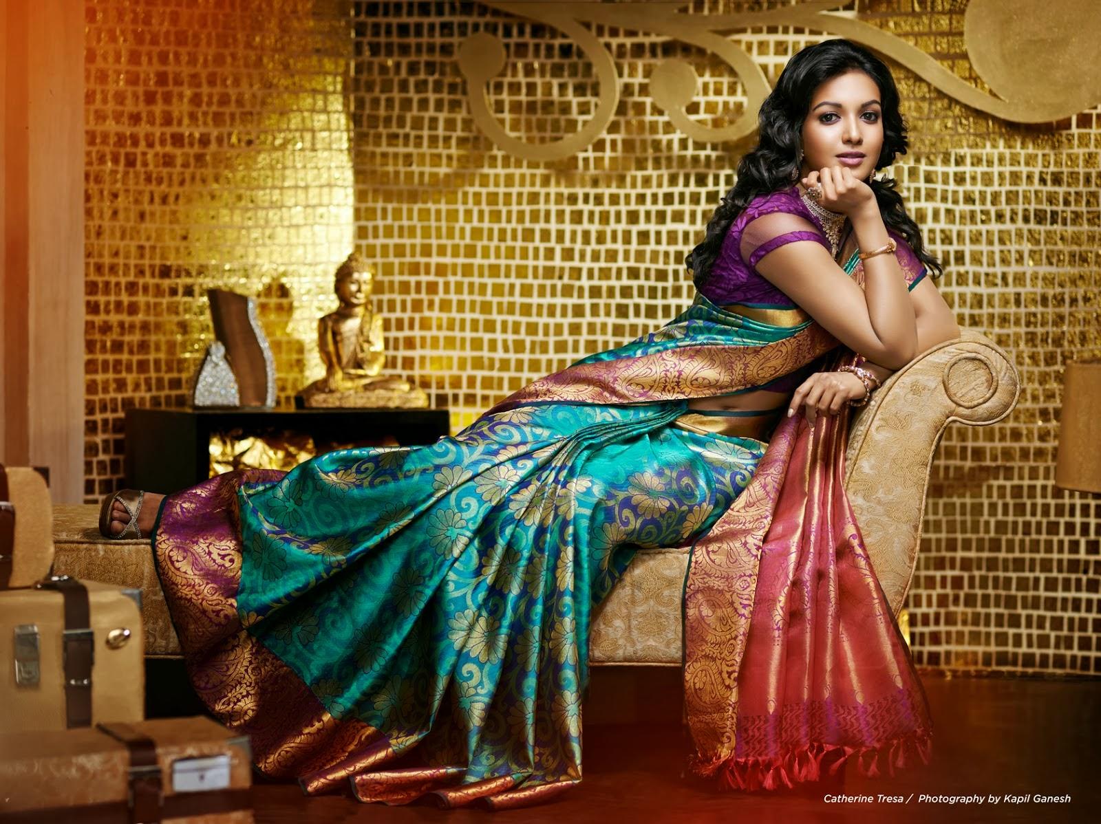Catherine tresa actress green saree pictures