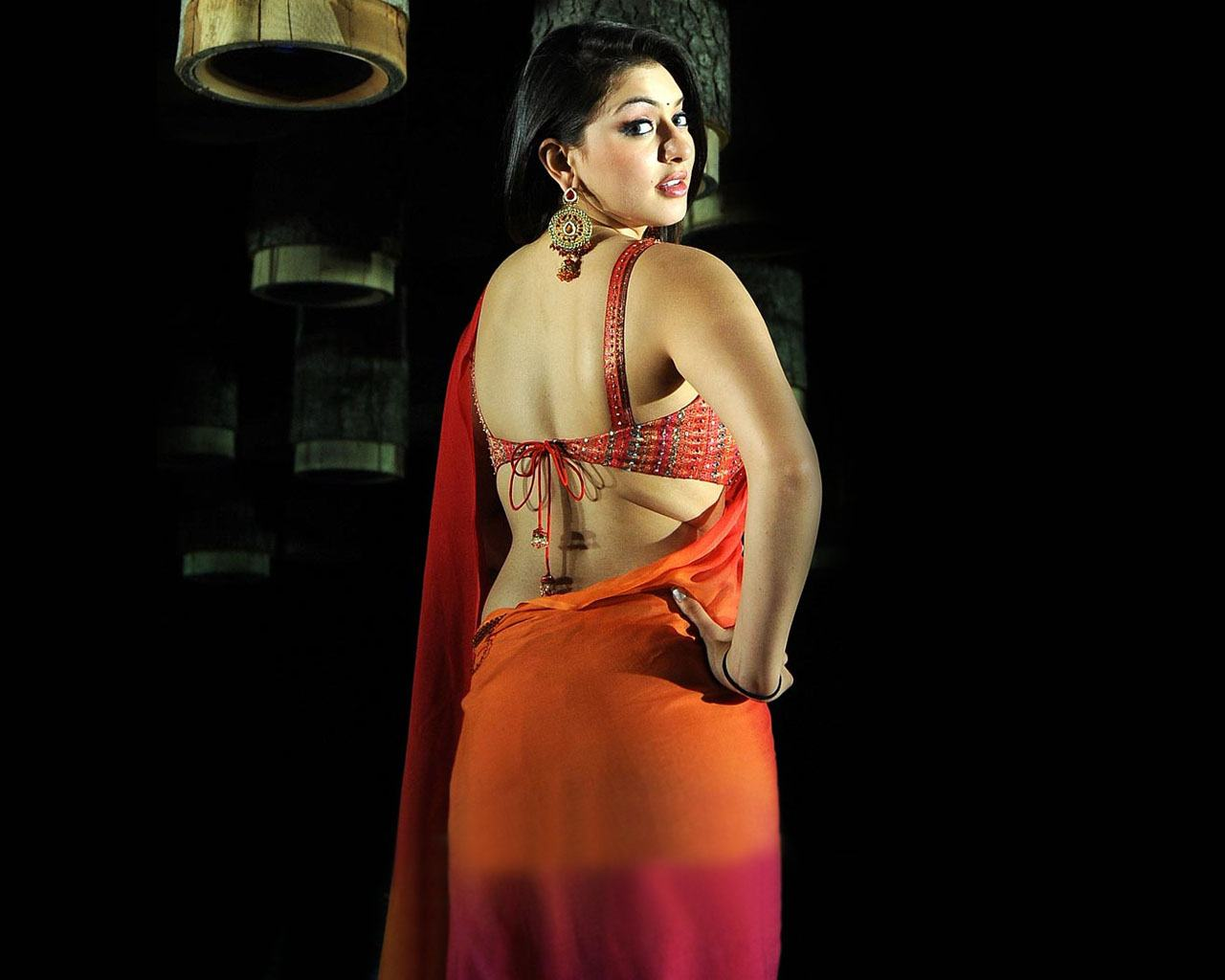 Hansika motwani backless red saree photos