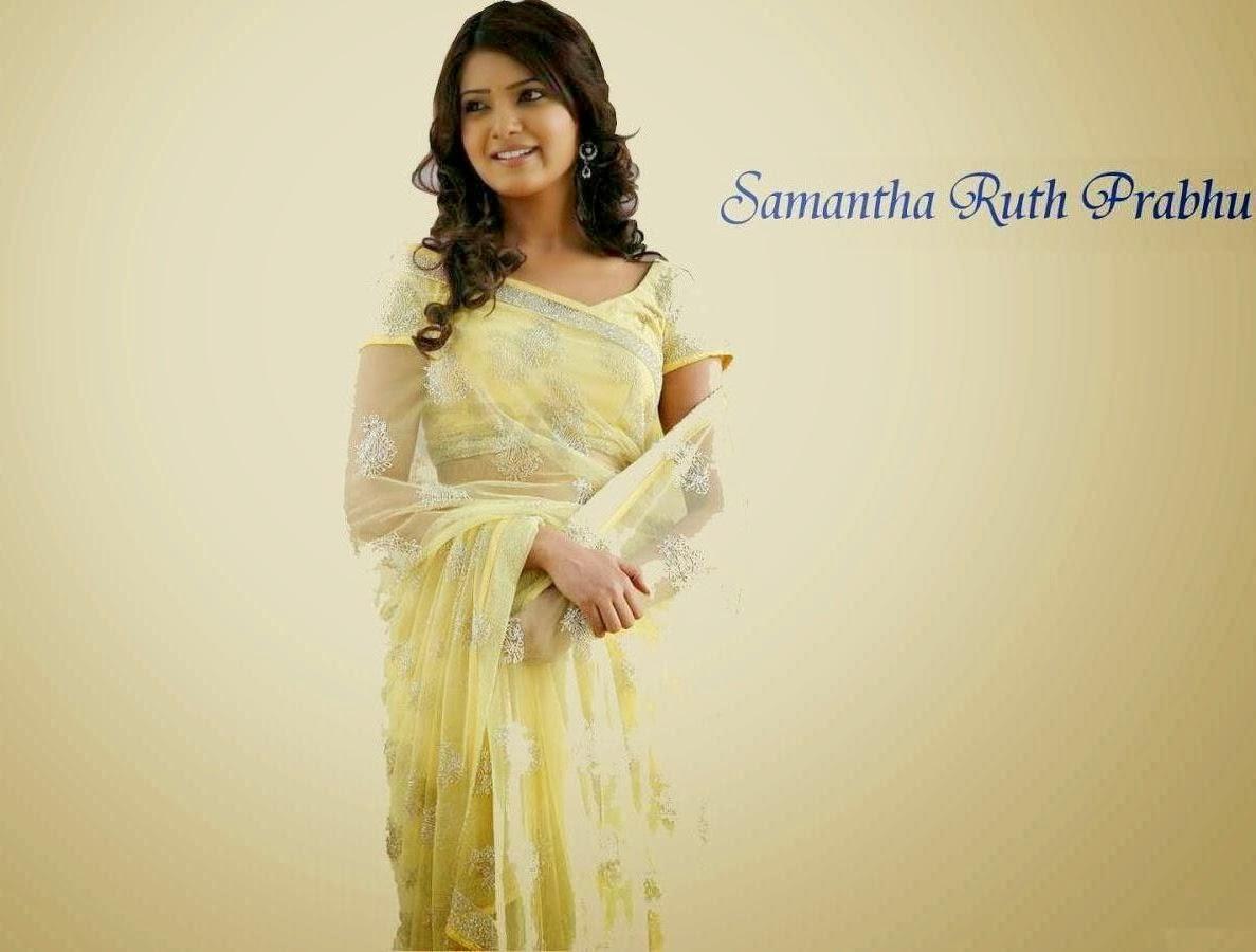 Samantha ruth prabhu yellow saree photos