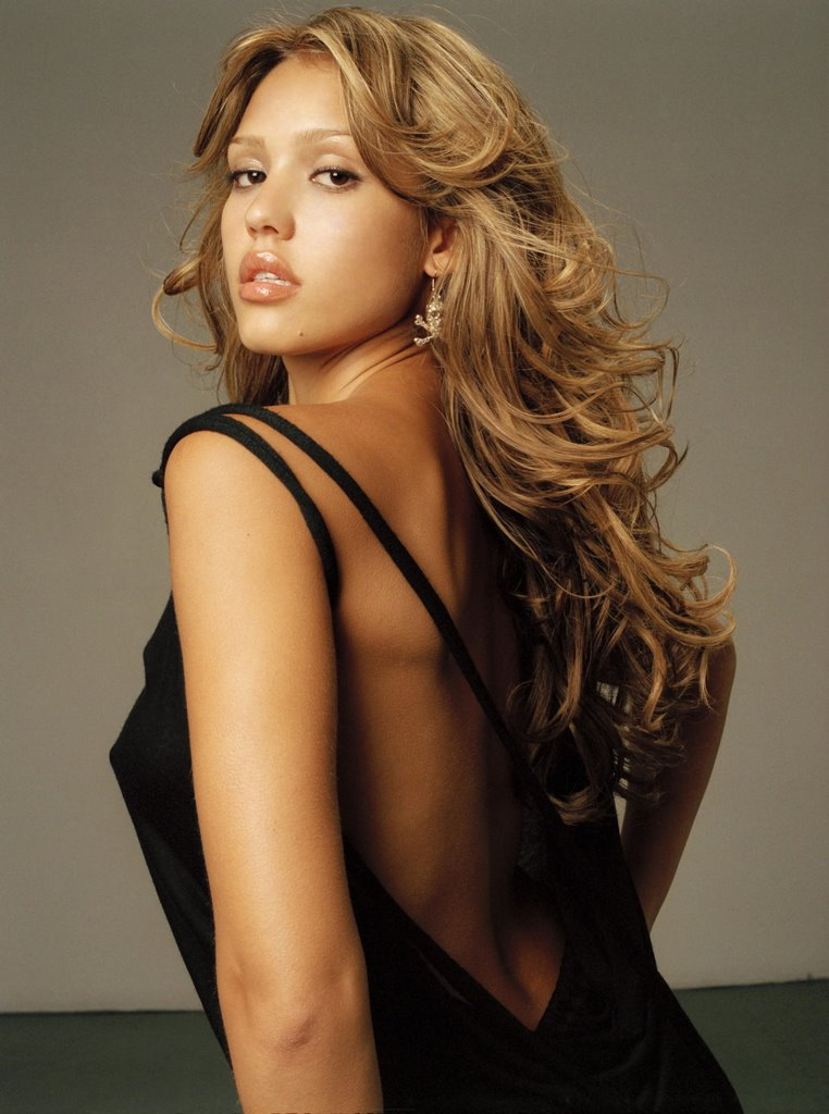 Jessica marie alba hot backless wallpaper