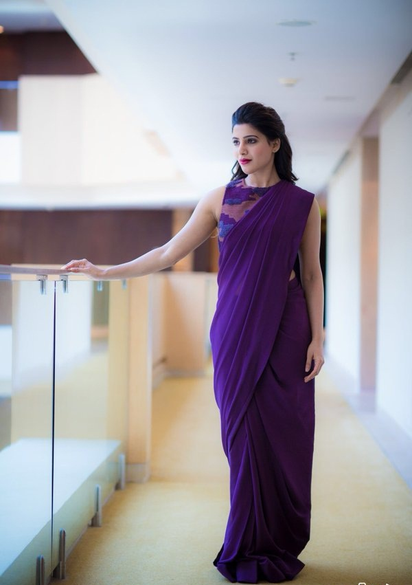 Samantha theri movie purple saree wallpaper