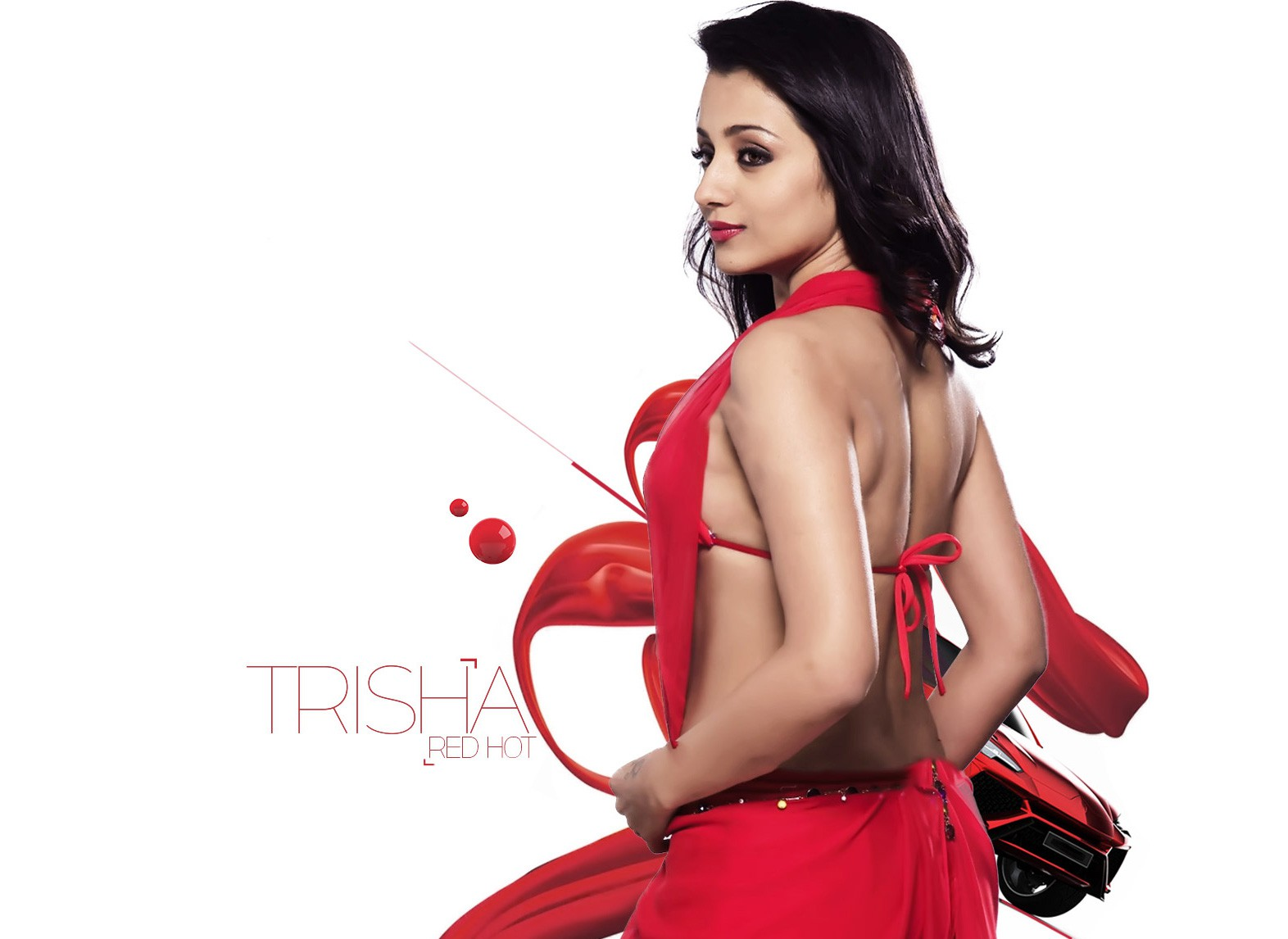 Trisha backless red dress hot hd wallpapers