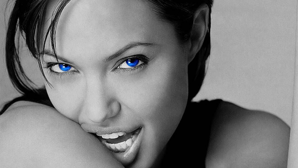 Hollywood actress angelina jolie black and white stills
