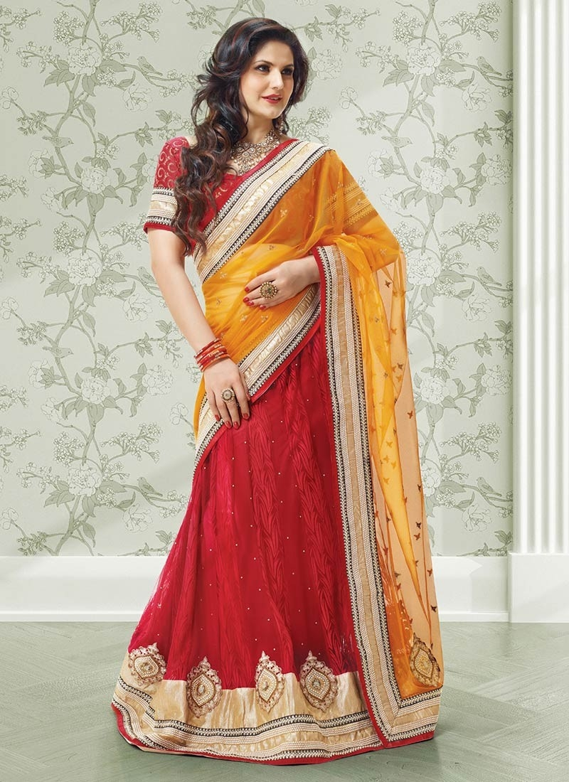 Zarine khan red saree pics