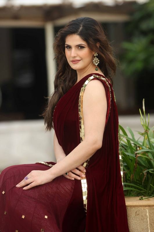Zarine khan saree cute stills