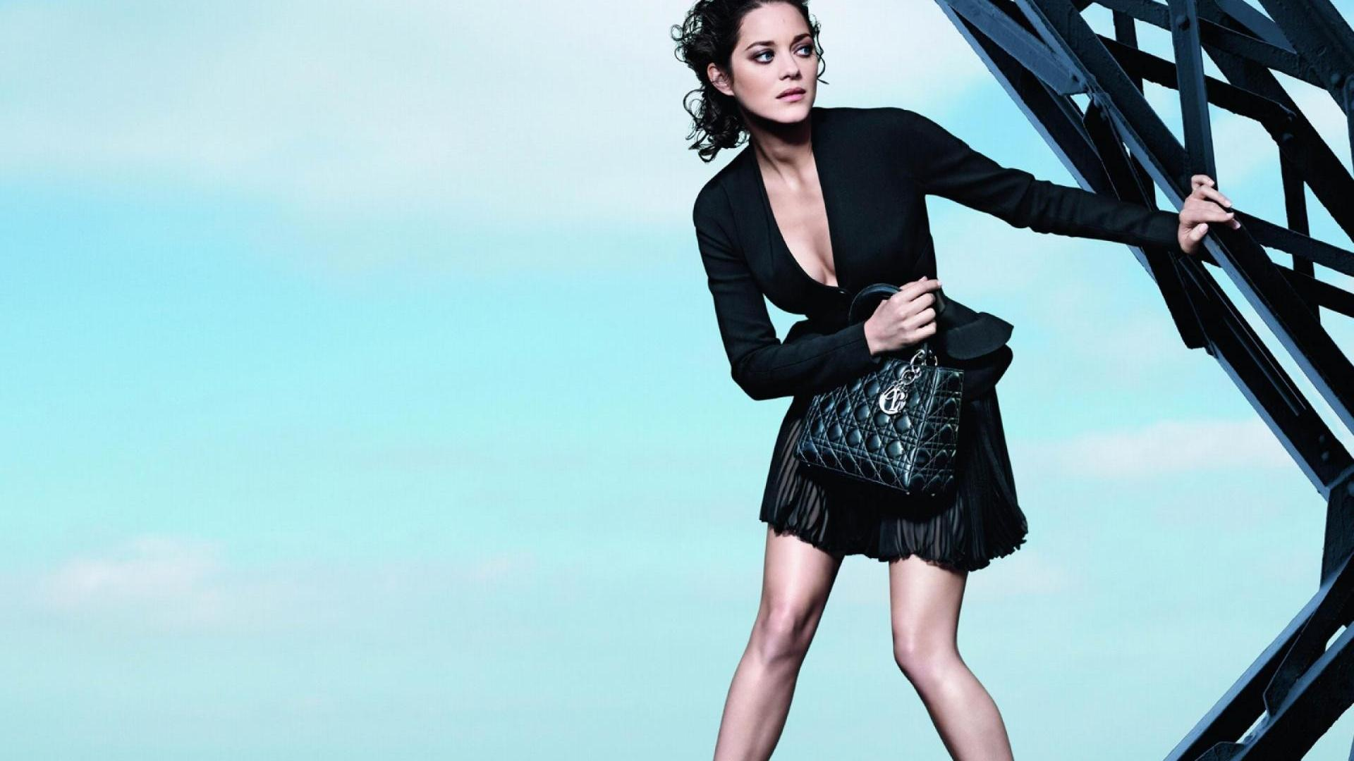 Hollywood actress marion cotillard black dress wallpaper