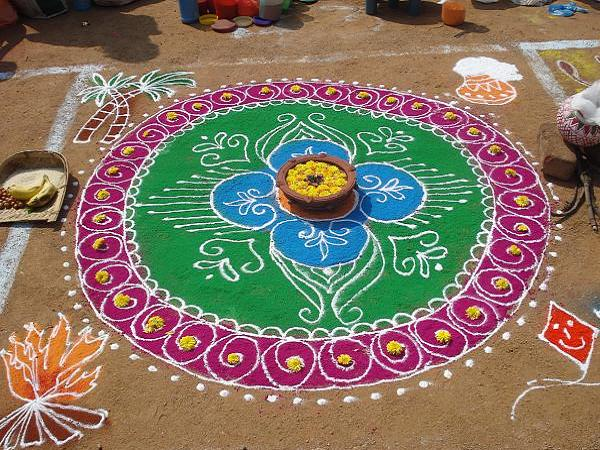 Simple pongal kolam pictures
