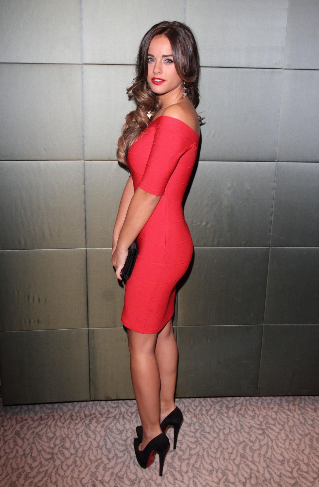 Georgia may foote red color dress photos