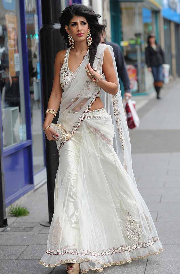 Jasmin walia white saree pictures