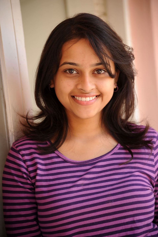 Sri divya purple color t shirt hot photos