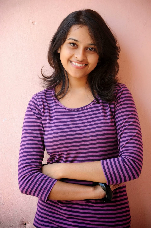 Sri divya purple color t shirt image