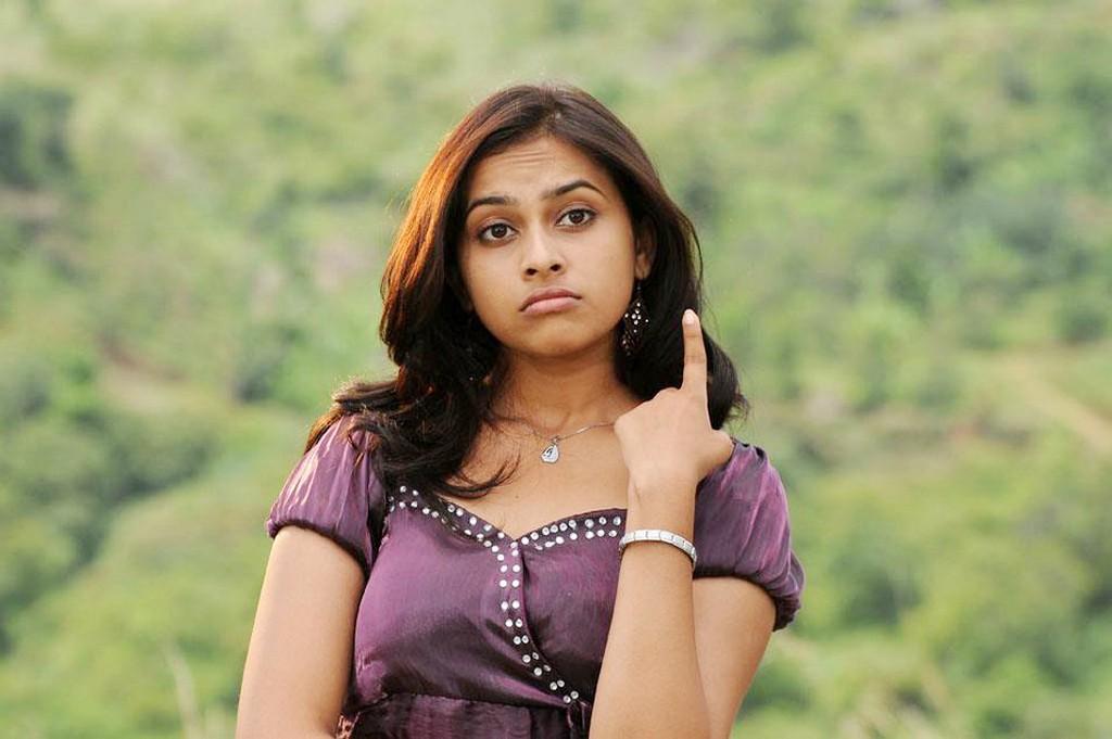Sri divya purple dress photos