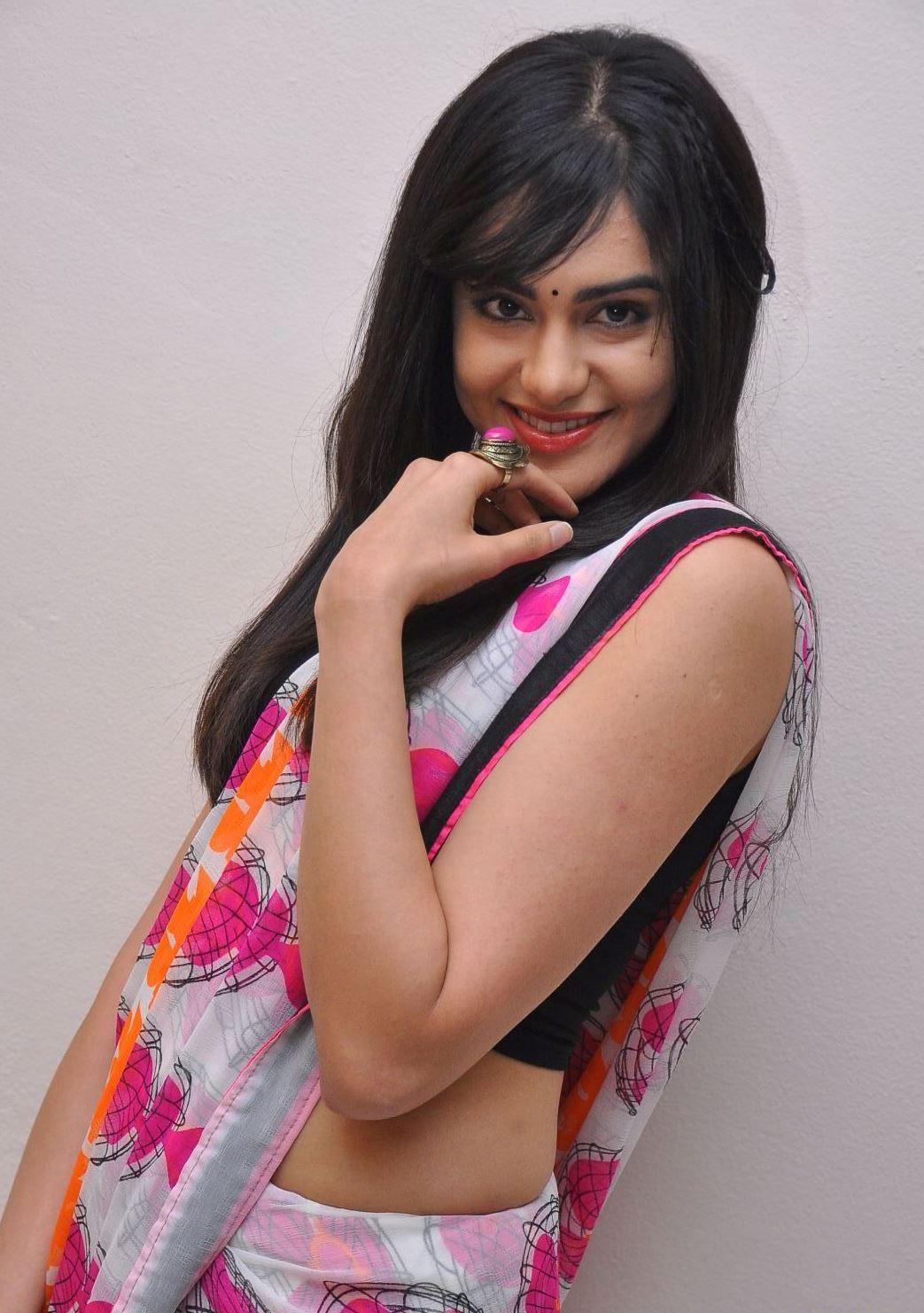 Adah sharma smile in saree photos