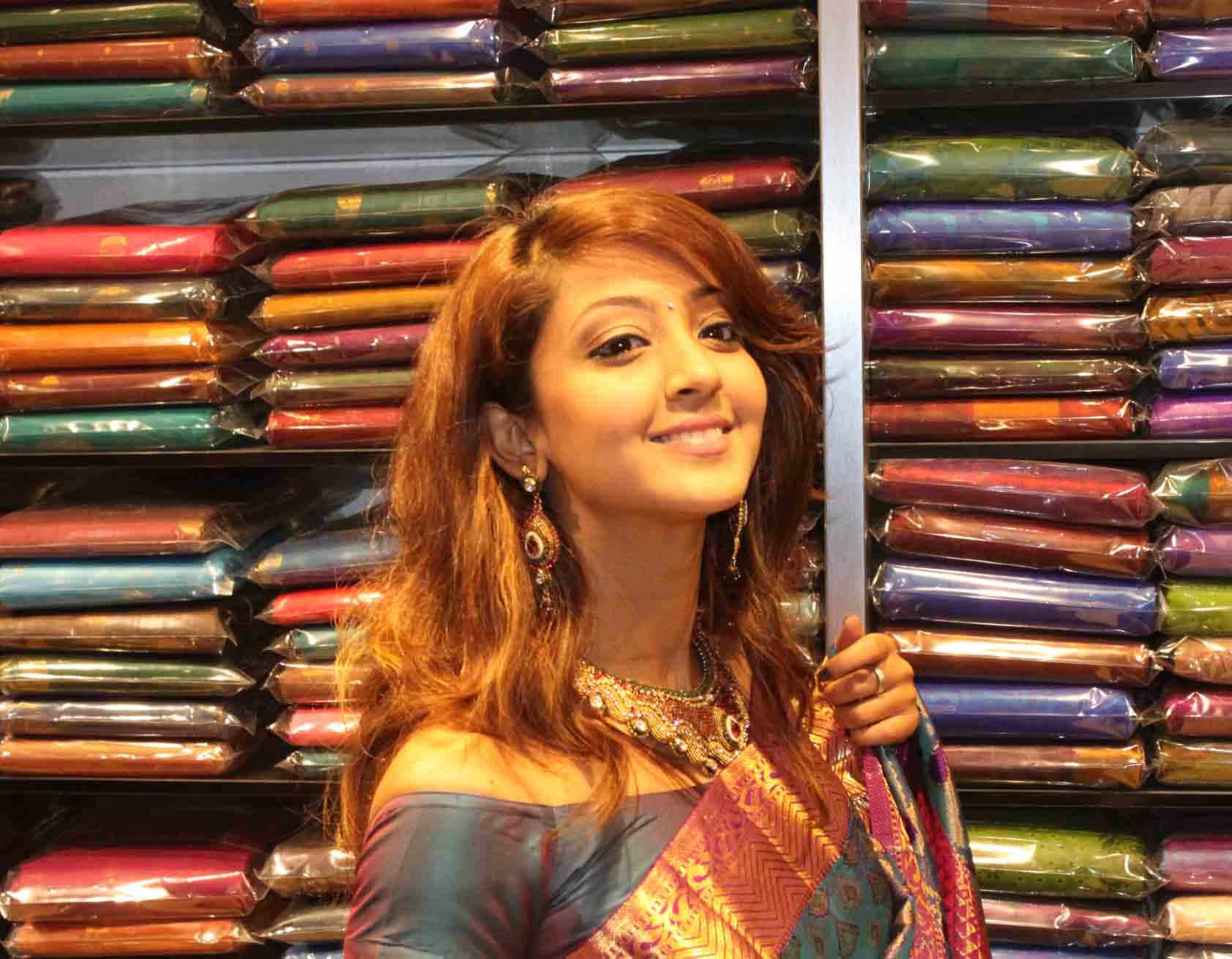Aindrita ray saree in shop opening photos