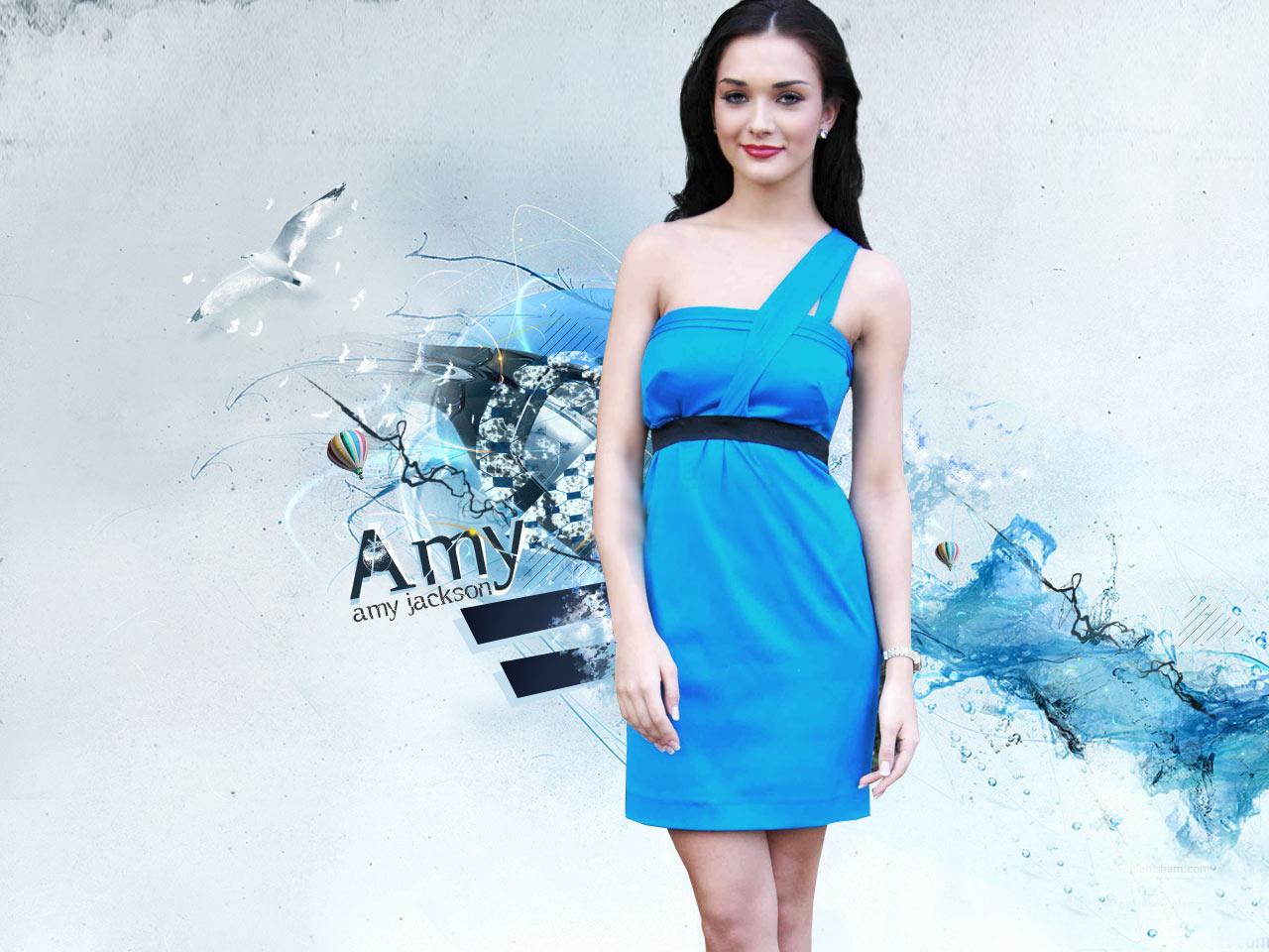 Amy jackson blue dress desktop wallpaper