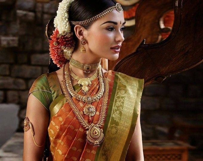 Amy jackson bridal saree pictures