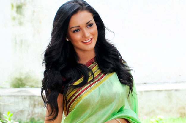 Amy jackson green saree foto wallpaper