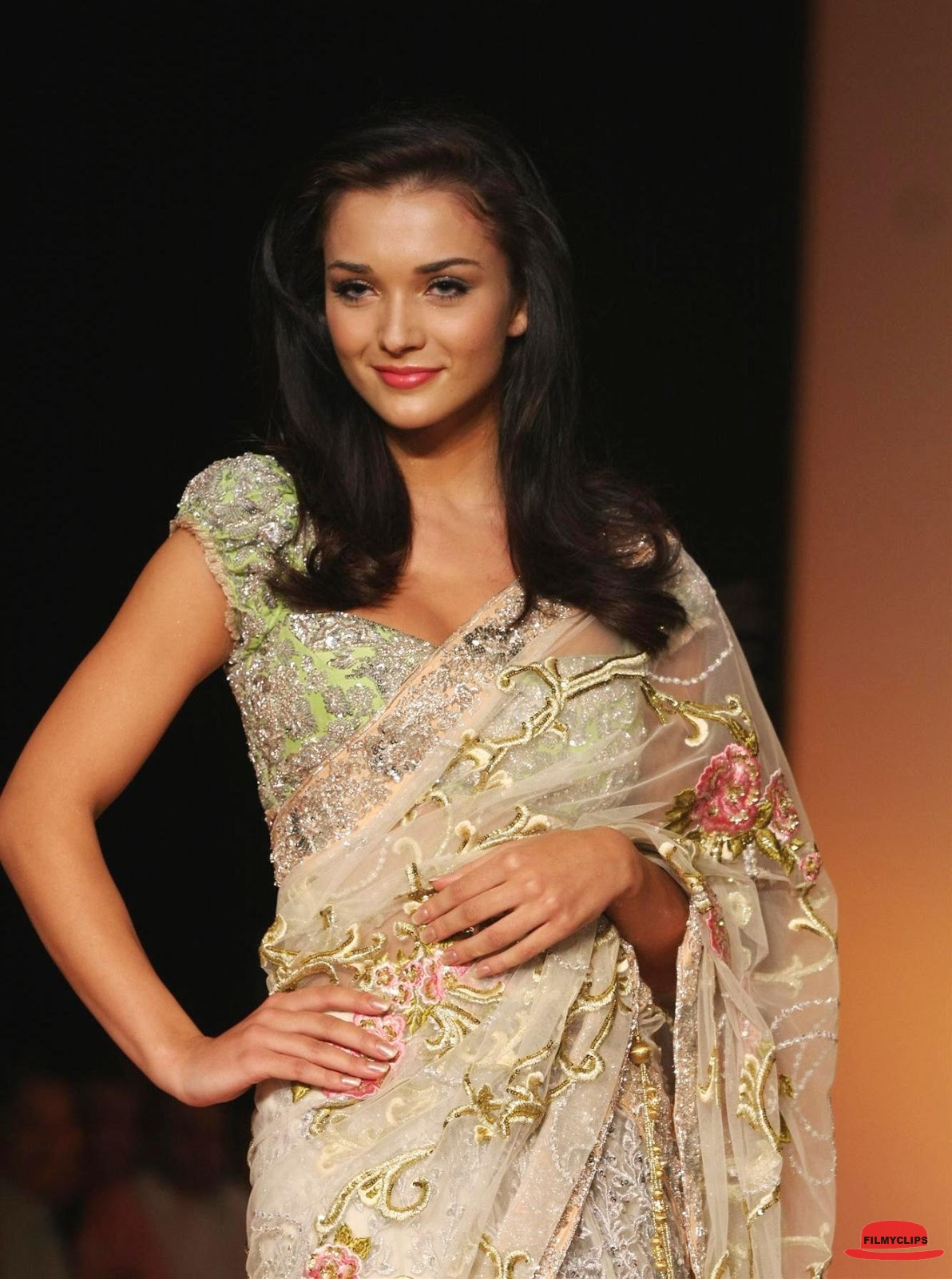 Amy jackson white saree photos