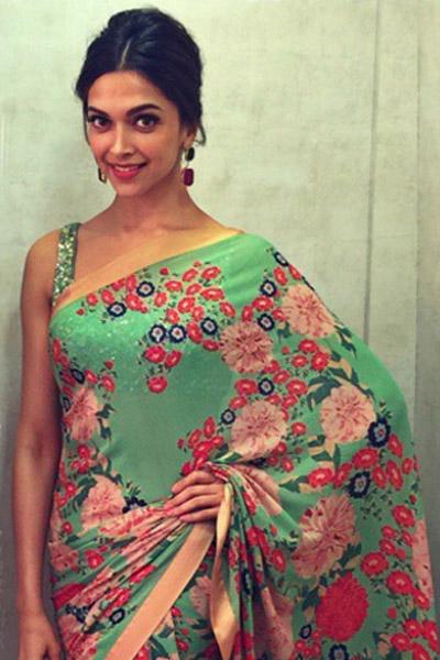 Deepika padukone light green saree pictures