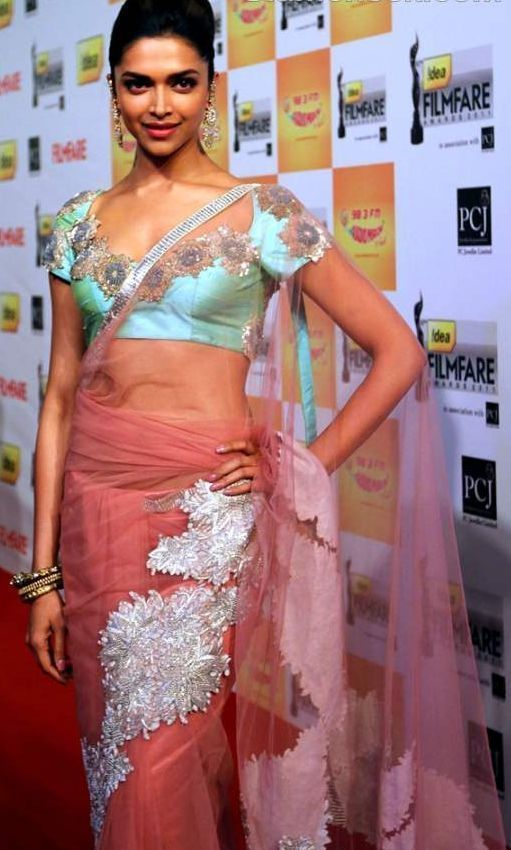 Deepika padukone light red saree pictures