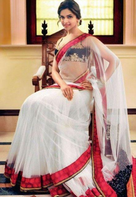 Deepika padukone white saree pictures
