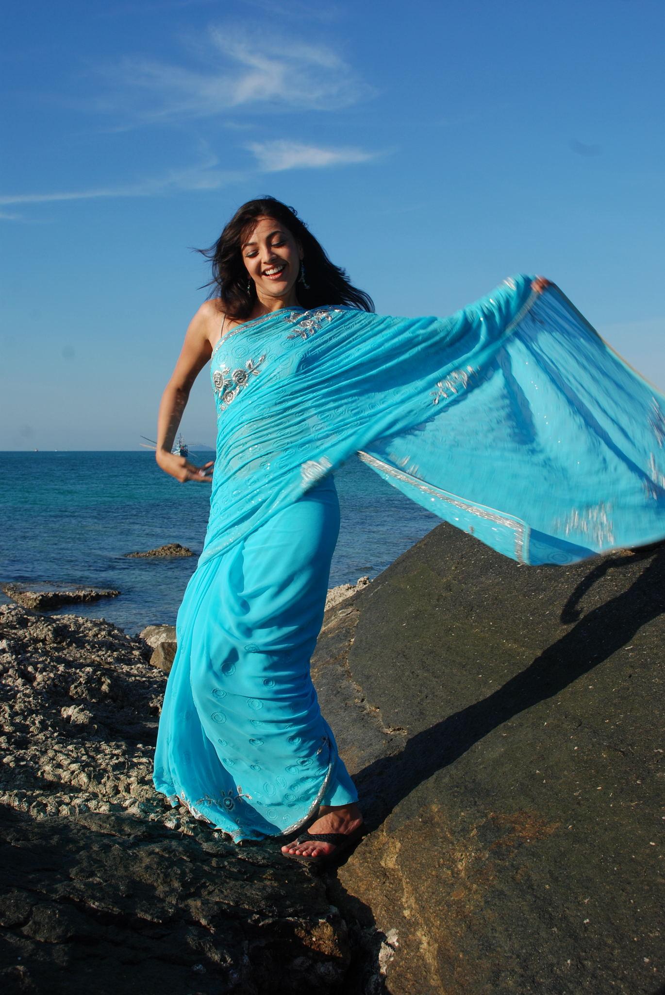 Kajal agarwal light blue saree beach pictures