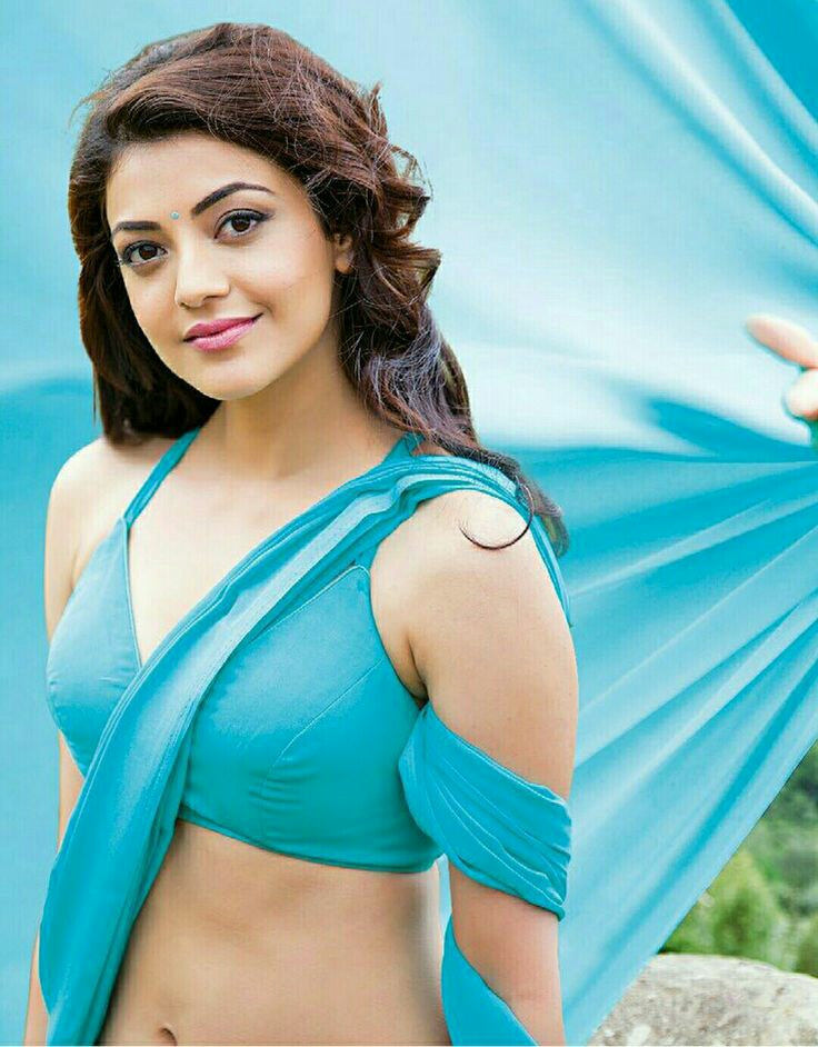 Kajal agarwal light blue saree hot photos