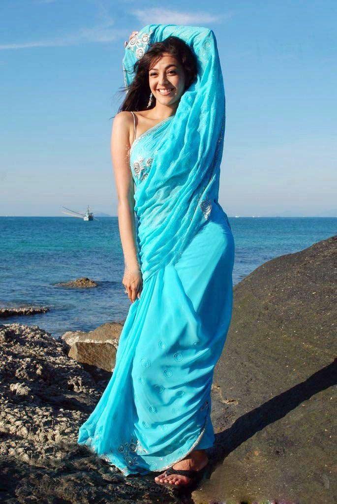 Kajal agarwal light blue saree image