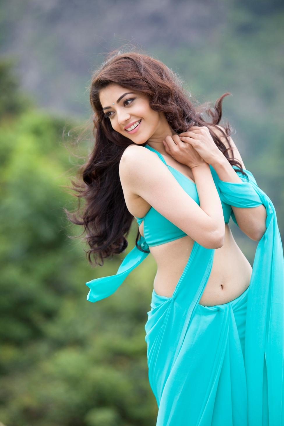 Kajal agarwal light blue saree pictures