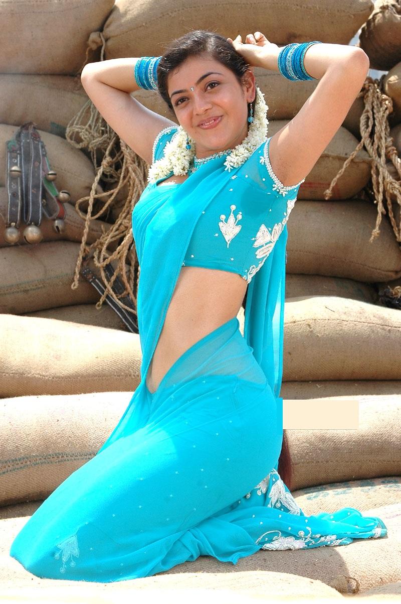 Kajal agarwal light blue saree wallpaper