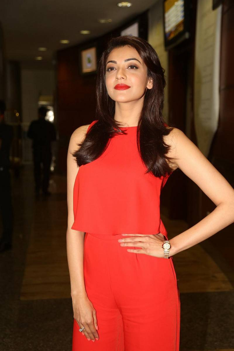 Kajal agarwal red dress photos