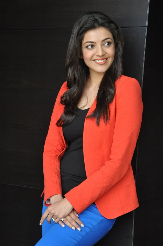Kajal agarwal red dress photoshoot stills